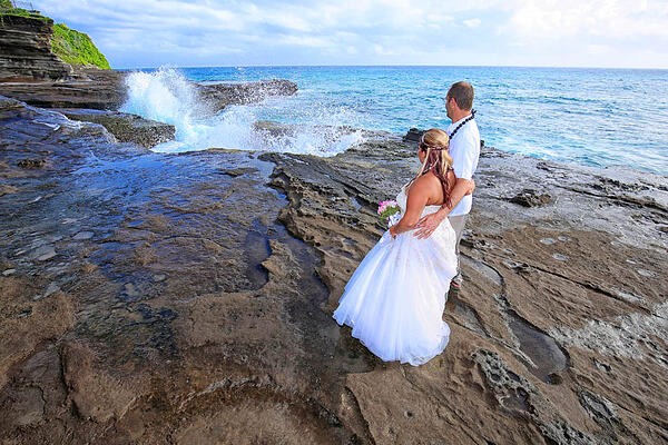A couple getting married at Heaven's Point Hawaii Wedding Location