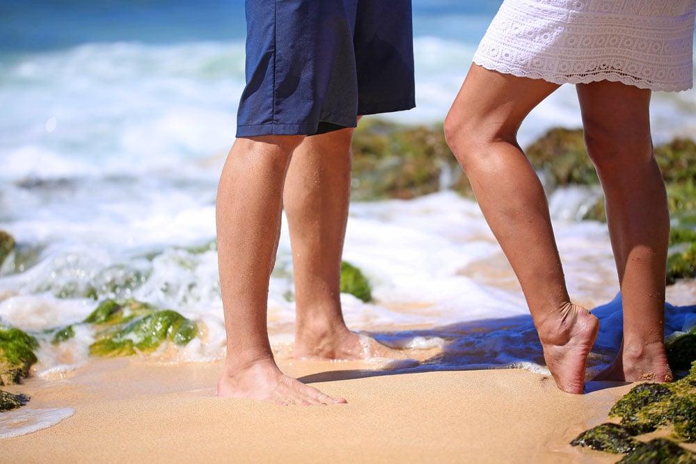 Sandy Beach Hawaii Wedding Couple
