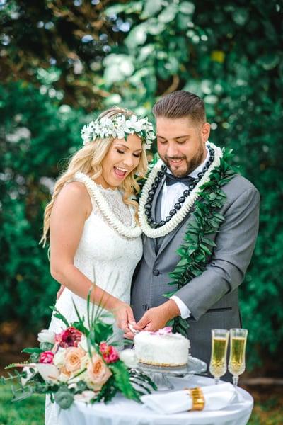 Newlyweds cutting their wedding cake