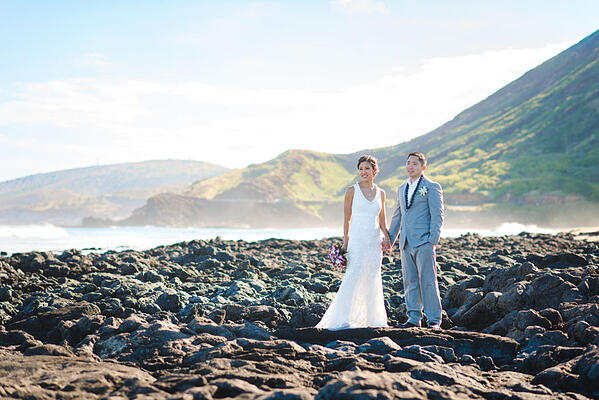 Sandy Beach Hawaii Wedding