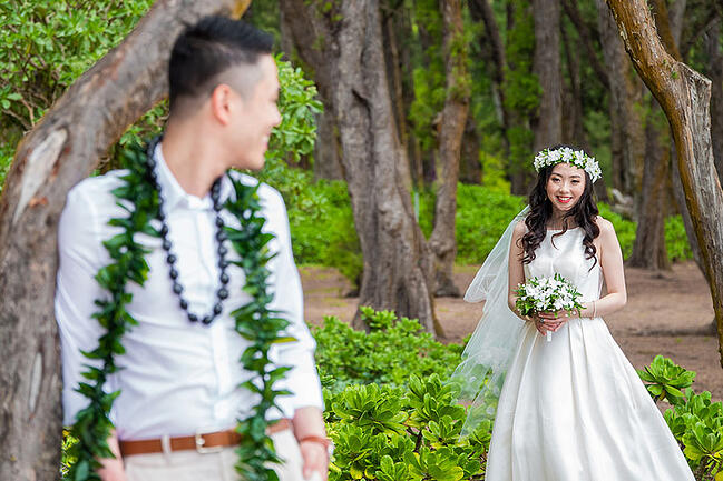 Elopement micro wedding at Sherwood Beach, Oahu