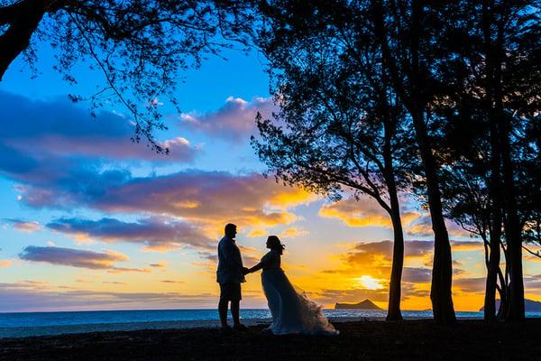Sherwood Beach Hawaii Sunrise Wedding