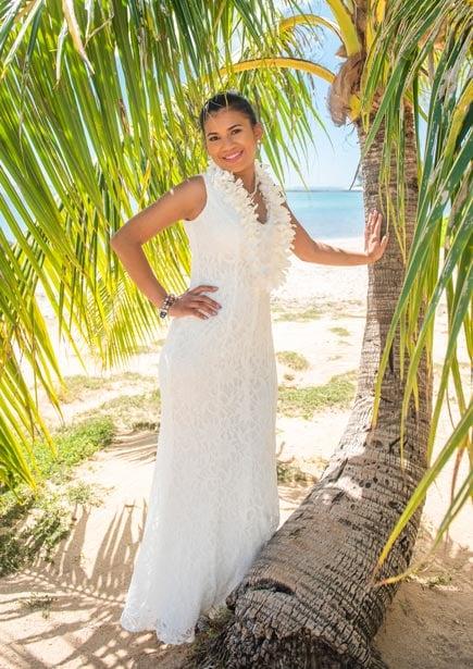 A bride showing off her semi-casual beach wedding dress