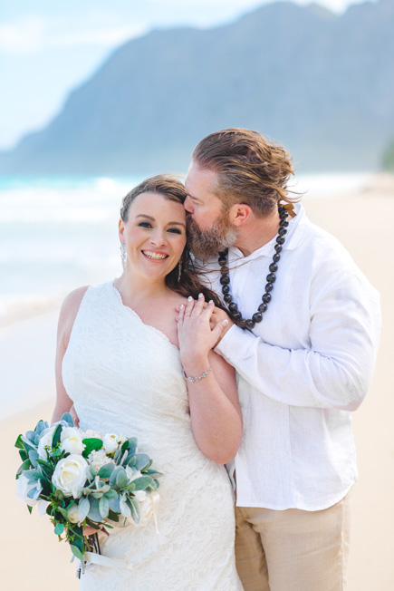 A bride and groom after their Hawaii wedding.