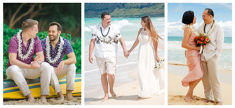 Three couples showing off casual Hawaii wedding attire