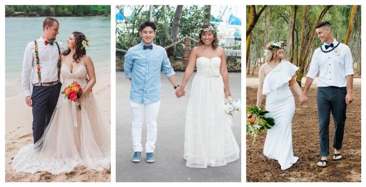 Three couples showing semi-casual Hawaii wedding attire