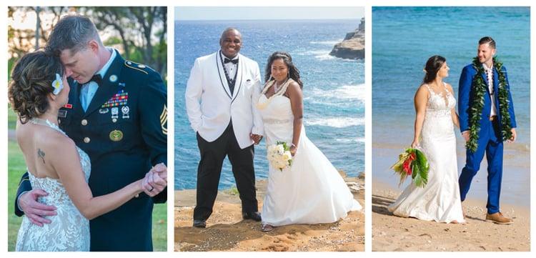 Formal Hawaii beach wedding attire examples