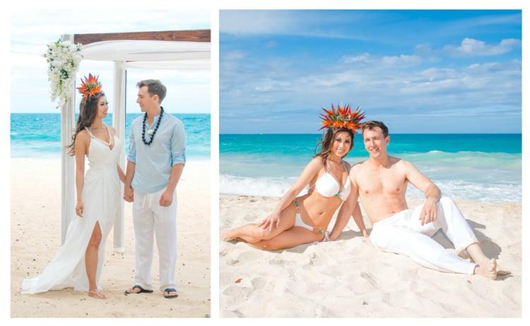Hawaii wedding couple in casual attire