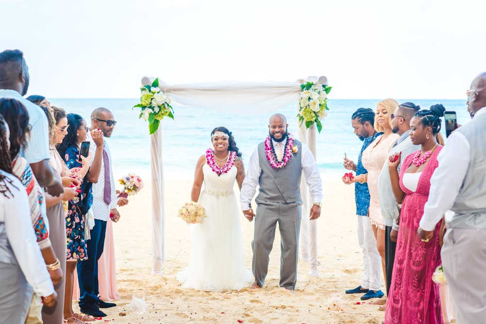 A beach wedding location on Oahu, Hawaii