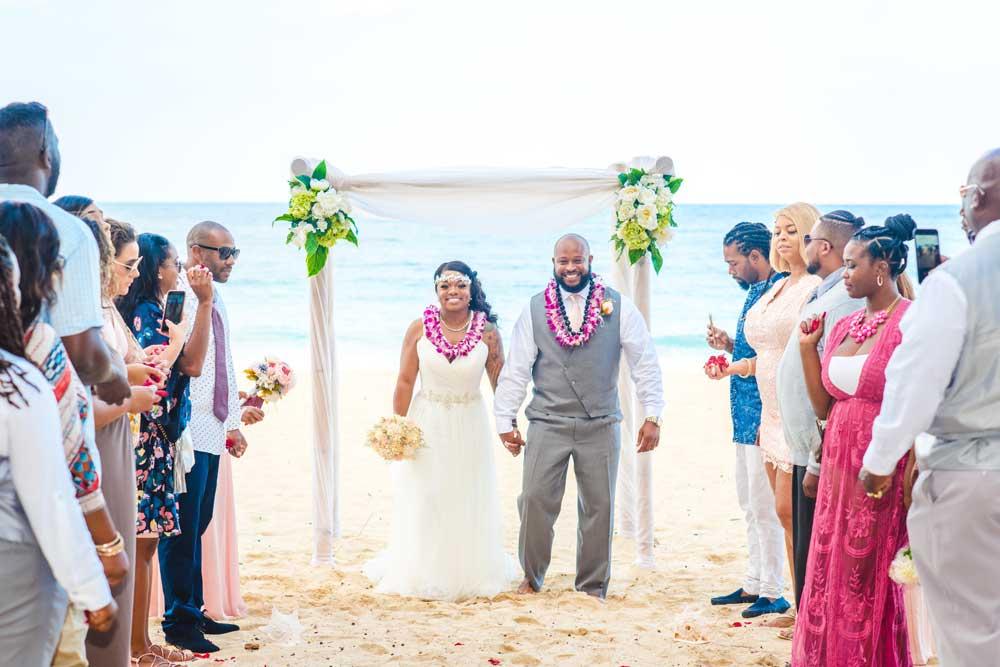 A beach wedding location on Oahu, Hawaii