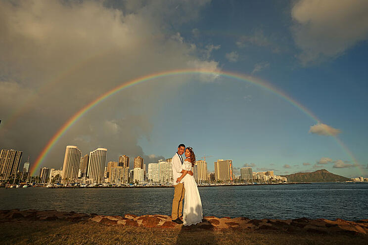 Hawaii beach wedding at Magic Island with a double rainbow