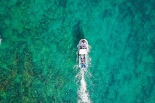 A boat off the coast of Hawaii