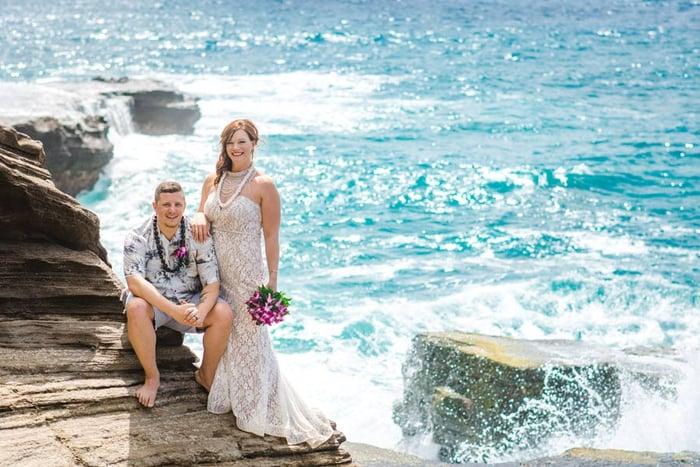 An eloping couple in Hawaii