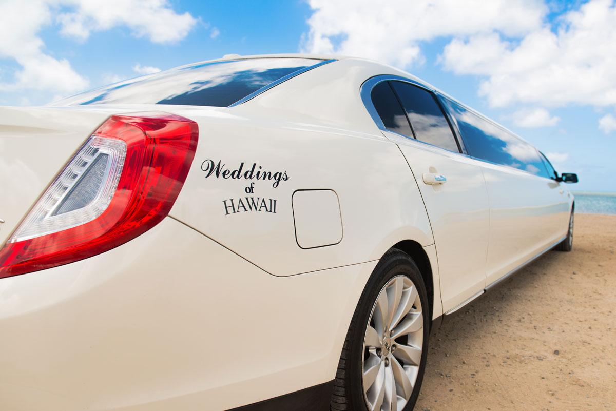 A limousine at a Hawaii beach wedding