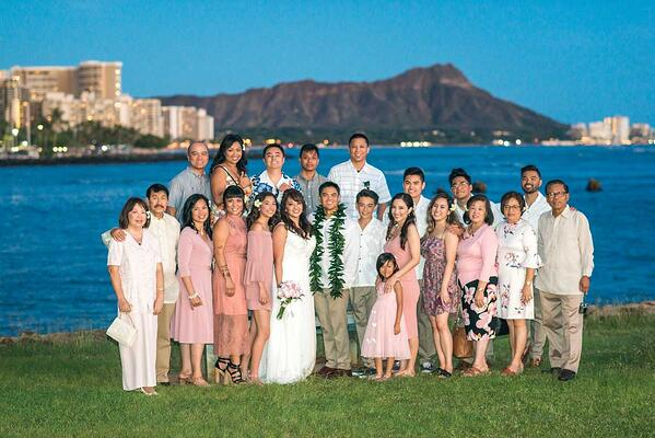 Large wedding party at a Hawaii ceremony