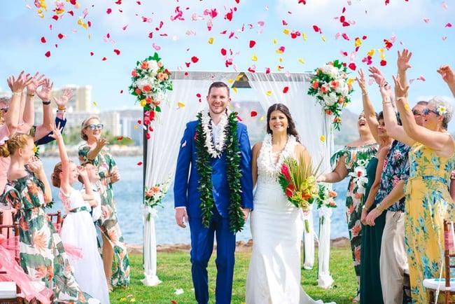 Micro wedding ceremony at Magic Island, Hawaii
