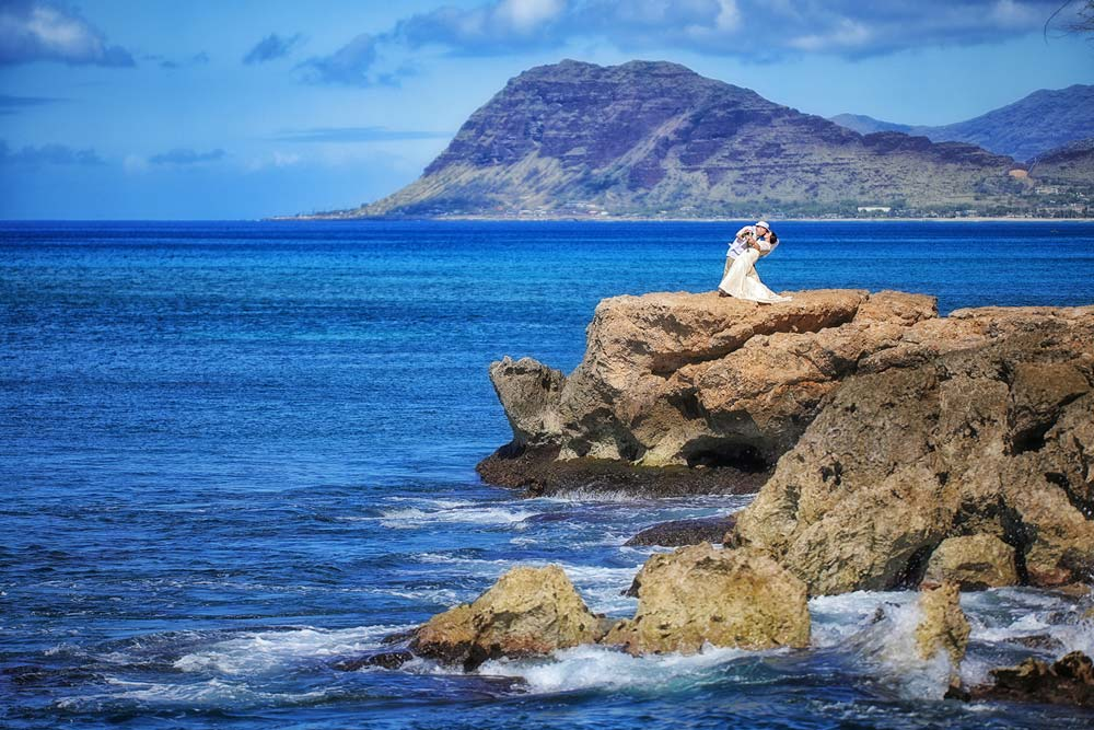Newlyweds at their Hawaii wedding location