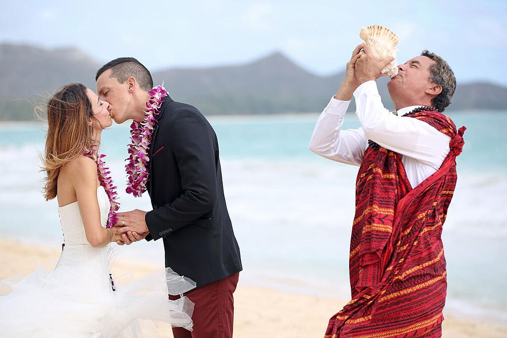 A Hawaiian wedding officiant