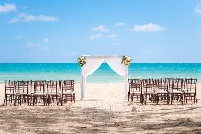 A beach wedding setup for a micro wedding