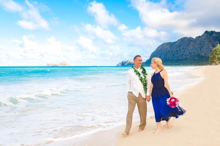 Newlyweds at Sherwood Beach Hawaii