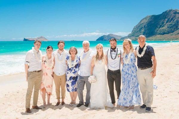 Wedding group at Sherwood Forest Beach, Hawaii