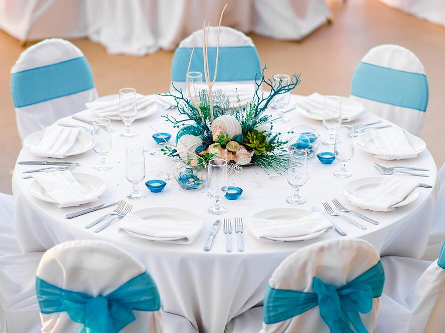 Ocean Elegance wedding reception setup