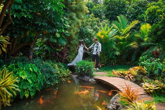 Newlyweds at Pukalani Falls Hawaii Wedding