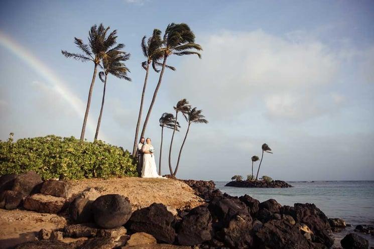Hawaii beach wedding with rainbow at Waialae