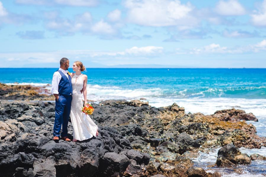 A couple posing after eloping in Hawaii