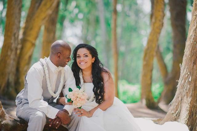 A couple at their Hawaii destination wedding