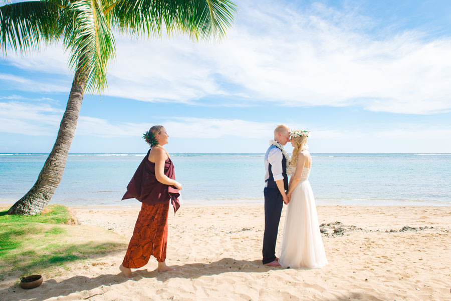 An Austrian couple eloping on a beach in Hawaii