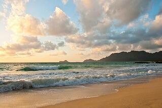 Sunrise at a popular Hawaiian beach wedding location