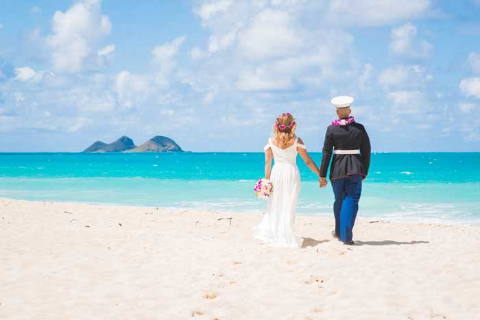 Newlyweds after their Hawaiian elopement at Waimanalo Bay Beach
