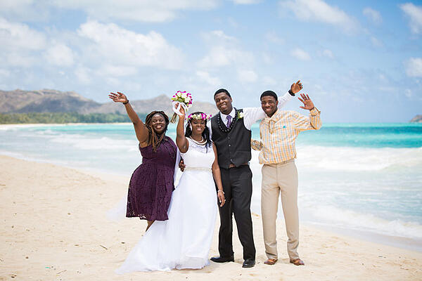Wedding party on a beach in Hawaii