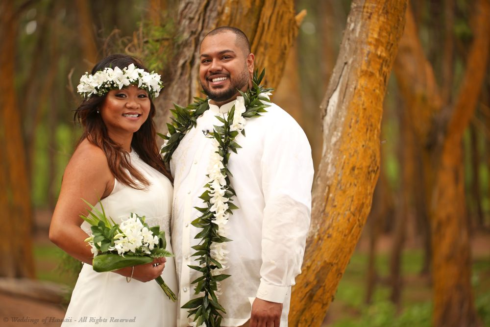 Bride wearing a Hawaiian Haku lei