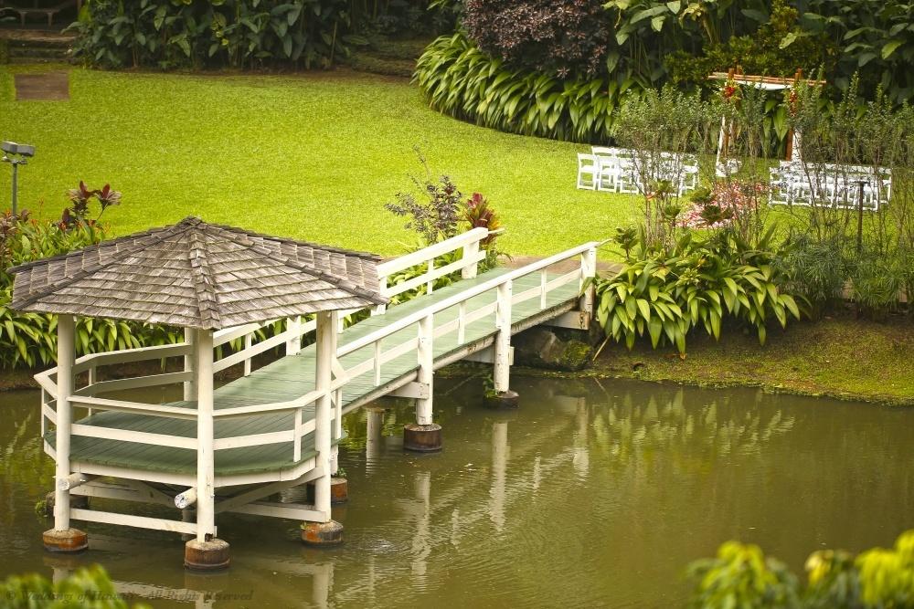 Wedding location next to a pond at Haiku Gardens, Oahu