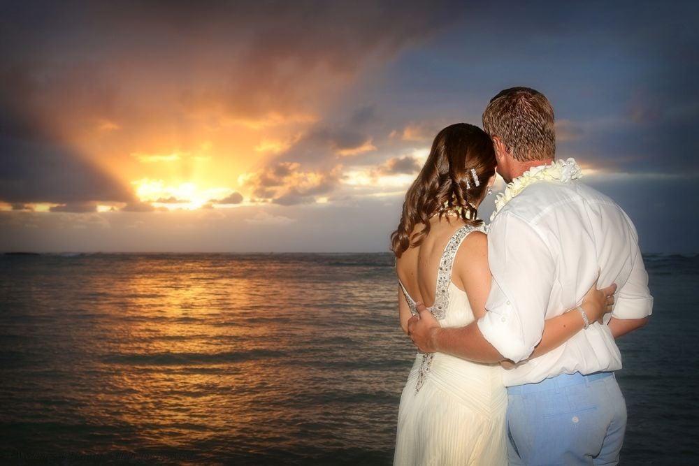 Kawela Bay sunset wedding location on Oahu, Hawaii