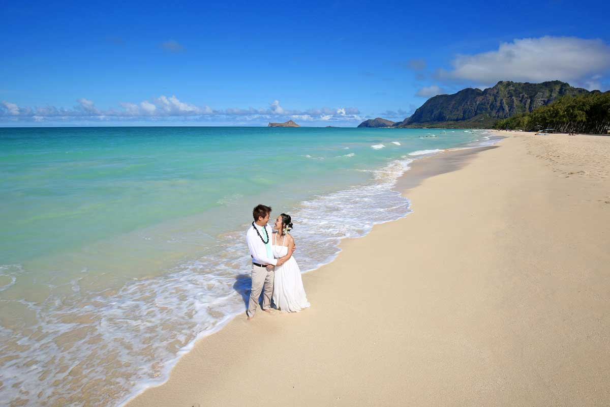 Hawaii Beach Wedding in August at Sherwood Forest Beach
