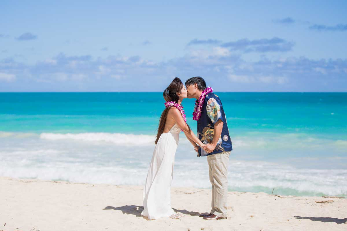 Hawaii Beach Wedding in November at Sherwood Forest Beach
