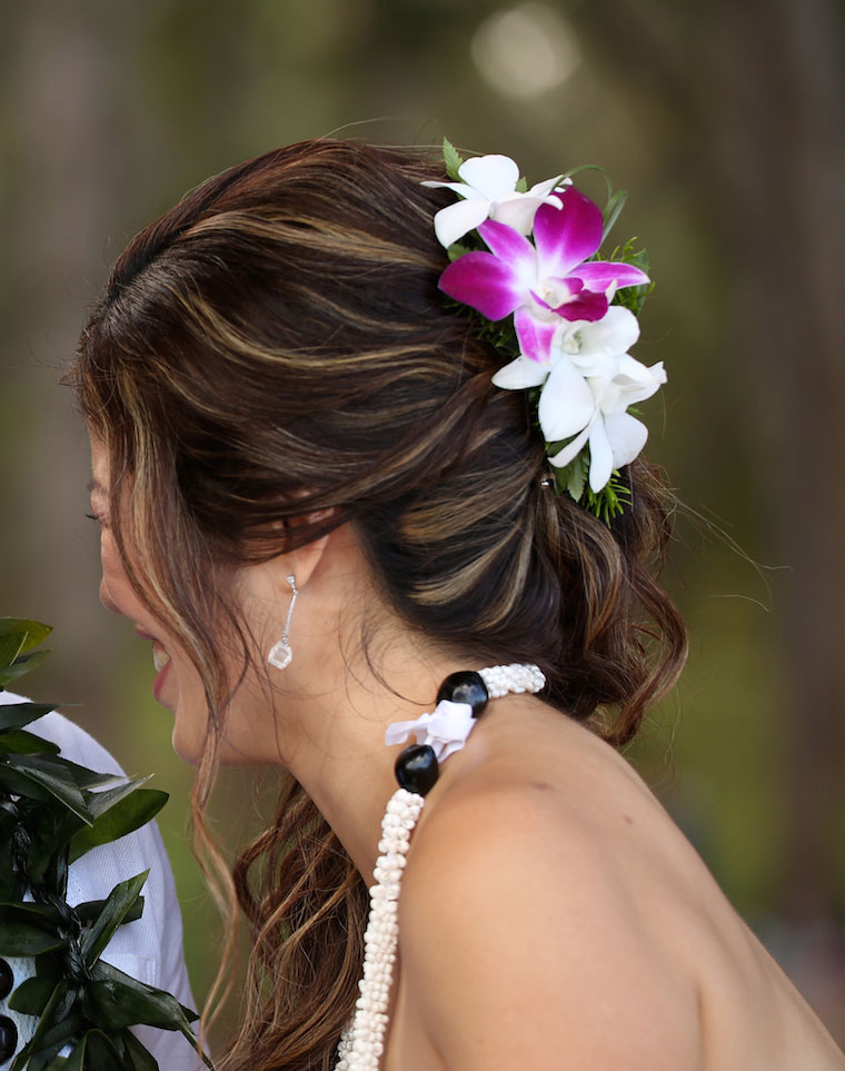 White and purple orchid Hawaiian wedding Hair Clip