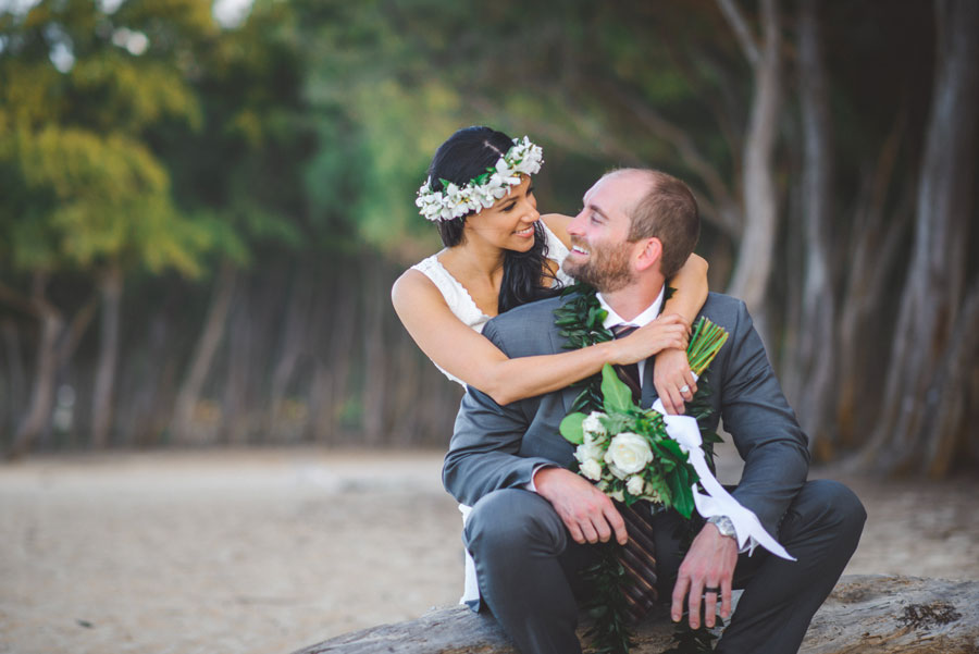 Forest wedding at Waimanalo Beach