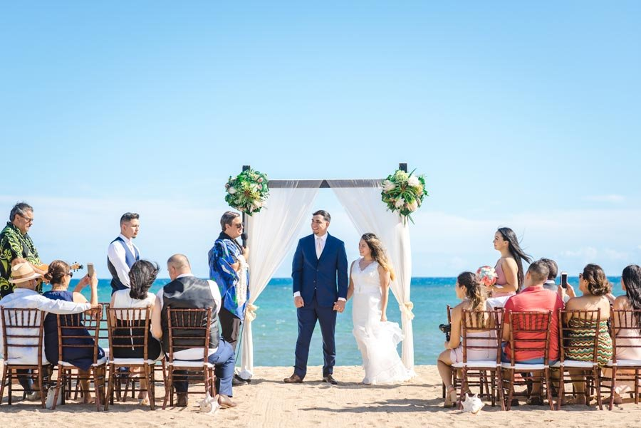 A small wedding group at Waialae Beach, Hawaii